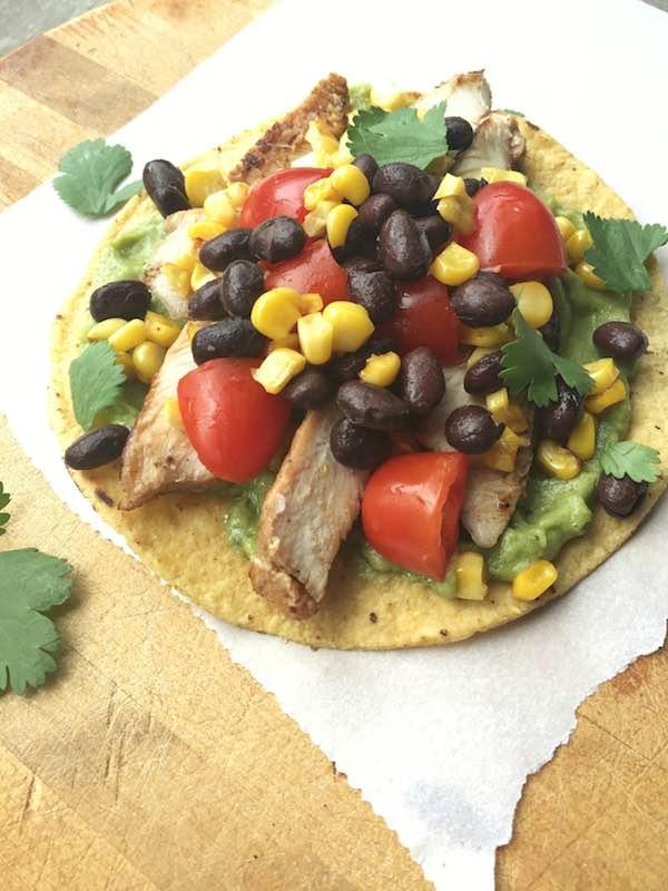 Weeknight Grilled Chicken Tostadas with Black Bean and Corn Salsa