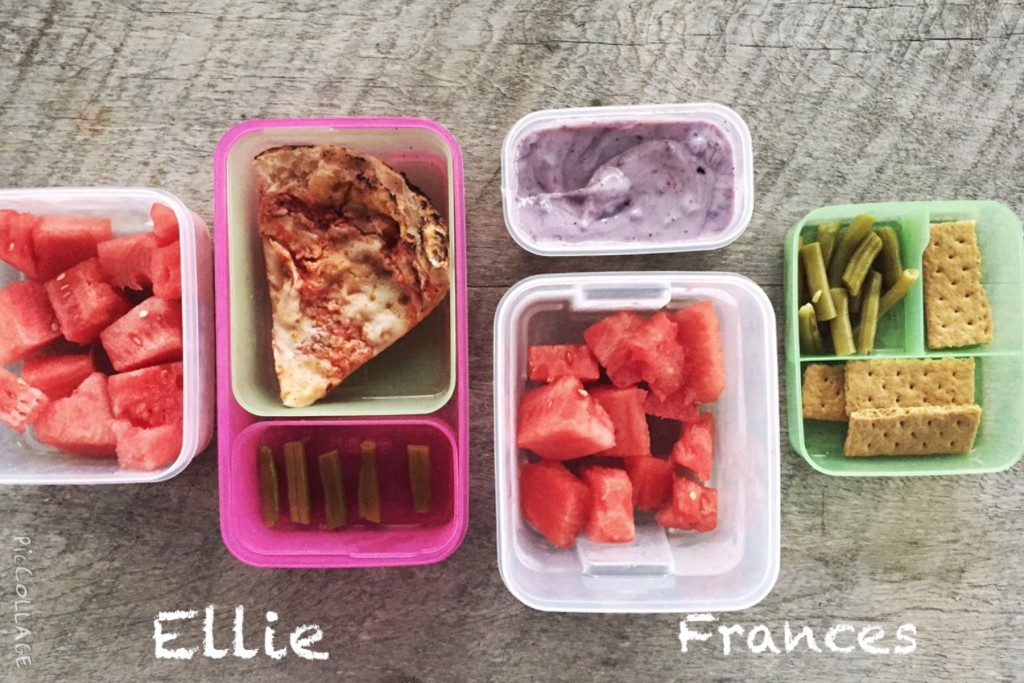 """Ellie: leftover slice of cheese pizza from our fave spot in Birmingham, Vecchia, """"5 green beans"""" (requested for them to be counted out), about 1 cup of watermelon cubes Frances: 1/2 cup yogurt, 1/2 cup watermelon, 1/3 cup canned, no-salt-added green beans, whole-grain graham cracker"""