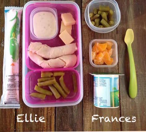 Ellie: yogurt tube, about 1-oz no-salt-added Boar's Head turkey, 1/2-oz Cabot cheddar, 2 tbspgreen beans, 1 tbsp ranchFrances: whole-milk yogurt, 1/2 cupgreen beans, 1/2 cup orange segments