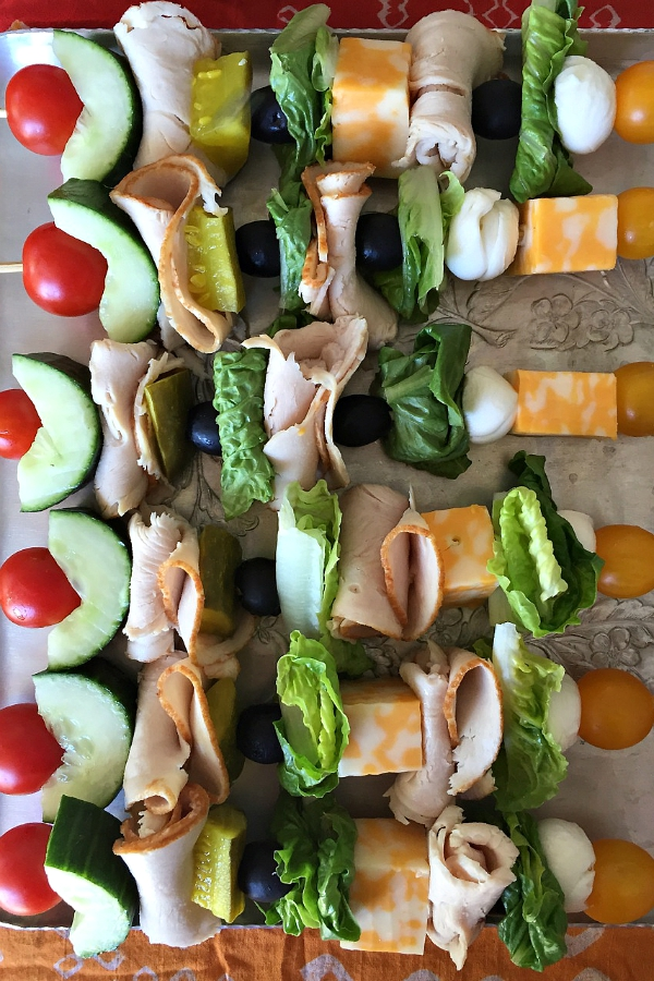 Turkey Sandwich Kebabs