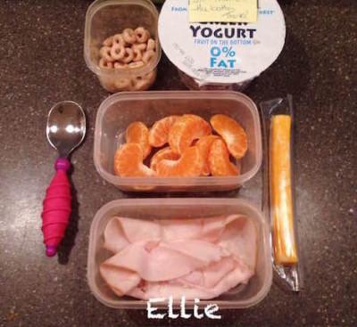 Ellie: 1 ounce low-sodium turkey breast, 1 cheese stick, 1 Halo, 1/4 cup whole-grain O's, Greek yogurt Frances; sick :(
