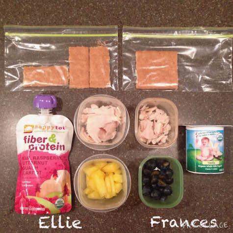 Ellie: fruit & veggie squeezie, 1-ounce low-sodium turkey breast, 1/4 cup fresh pineapple, graham cracker Frances:whole-milk yogurt, 1-ounce low-sodium turkey breast, 1/4 cup fresh blueberries, 1/2 graham cracker