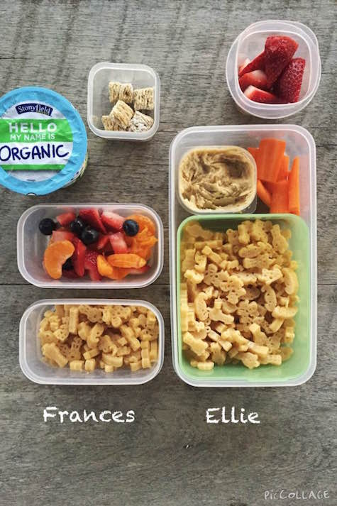 Frances: soy milk yogurt, 1 cup fruit salad, 4 mini wheat cereal, 1/4 cup mac and cheese Ellie: 1/2 cup strawberries, 1/4 cup carrots, 1 Tbsp Sabra hummus, 1/2 cup mac and cheese