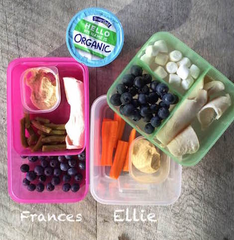 Frances: 1/4 cup blueberries, 1 slice low-sodium turkey breast, 1/4 cup green beans, 1 Tbsp hummus Ellie: carrot sticks, 2 Tbsp hummus, 2 Tbsp mini marshmallows, 2 slices low-sodium turkey breast, 1/2 cup blueberries