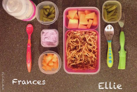 Frances: 1/3-cup whole-milk yogurt, 1/4 cup green beans, 1/4 cup cantaloupe Ellie: 1/2 cup cantaloupe, 1/4 cup green beans, 1 cup spaghetti & meat sauce