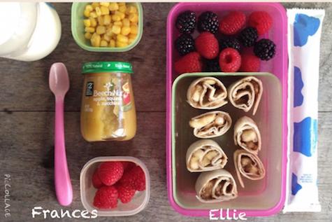 "Frances: bottle of infant formula, Beechnut babyfood, 1/4 cup raspberries, 1/4 cup no-salt-added corn Ellie: ""cow yogurt,"" 1/2 cup berries, Sun Butter Sushi: 1 6-inch flour tortilla spread with 1 Tbsp sun butter and half banana rolled up"